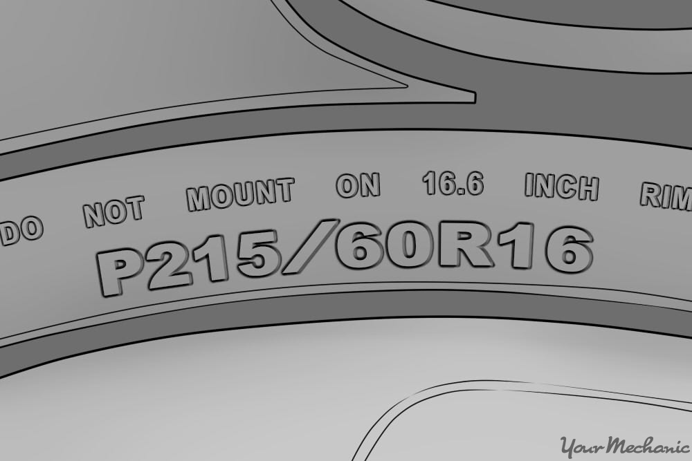 close up of tire size label