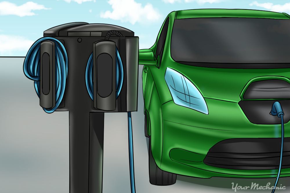 charging station plugged into car