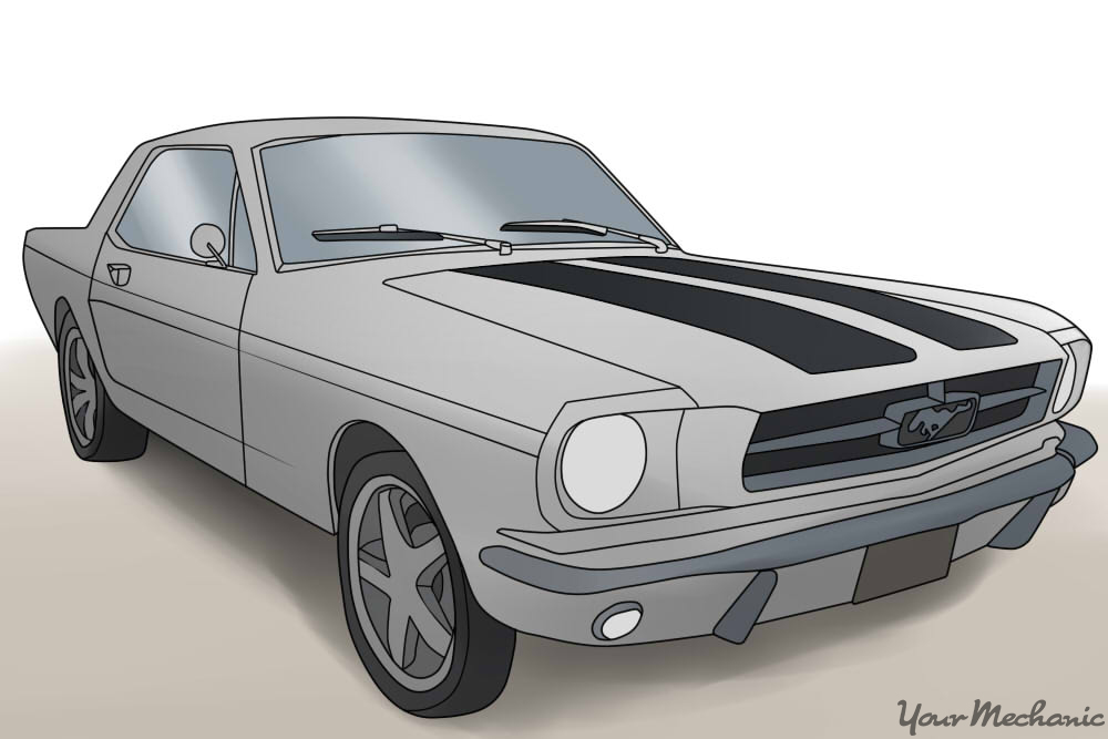 classic white ford mustang