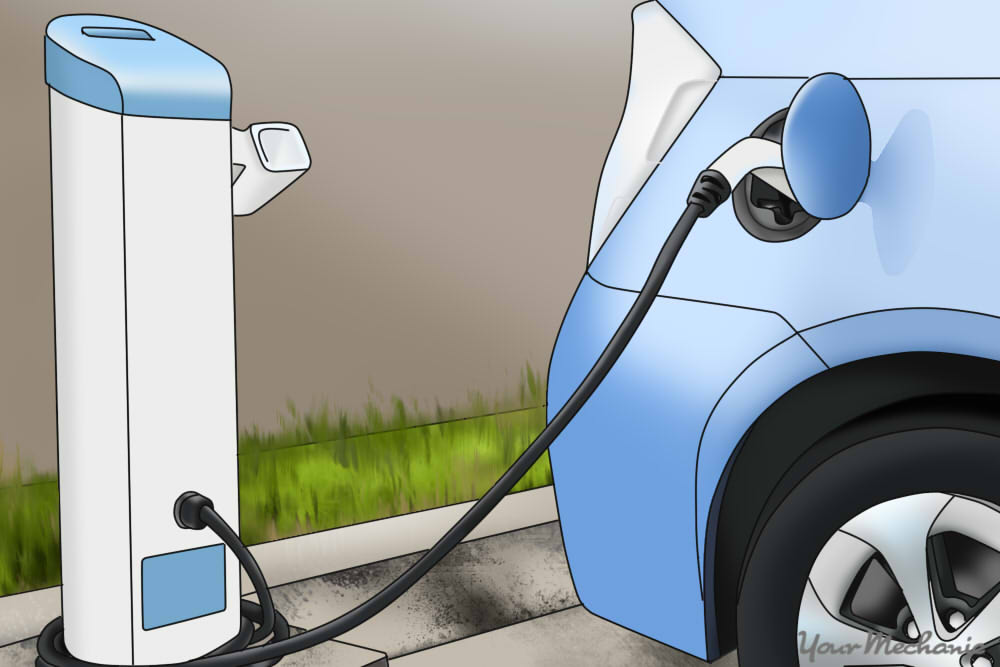 hybrid car plugged in