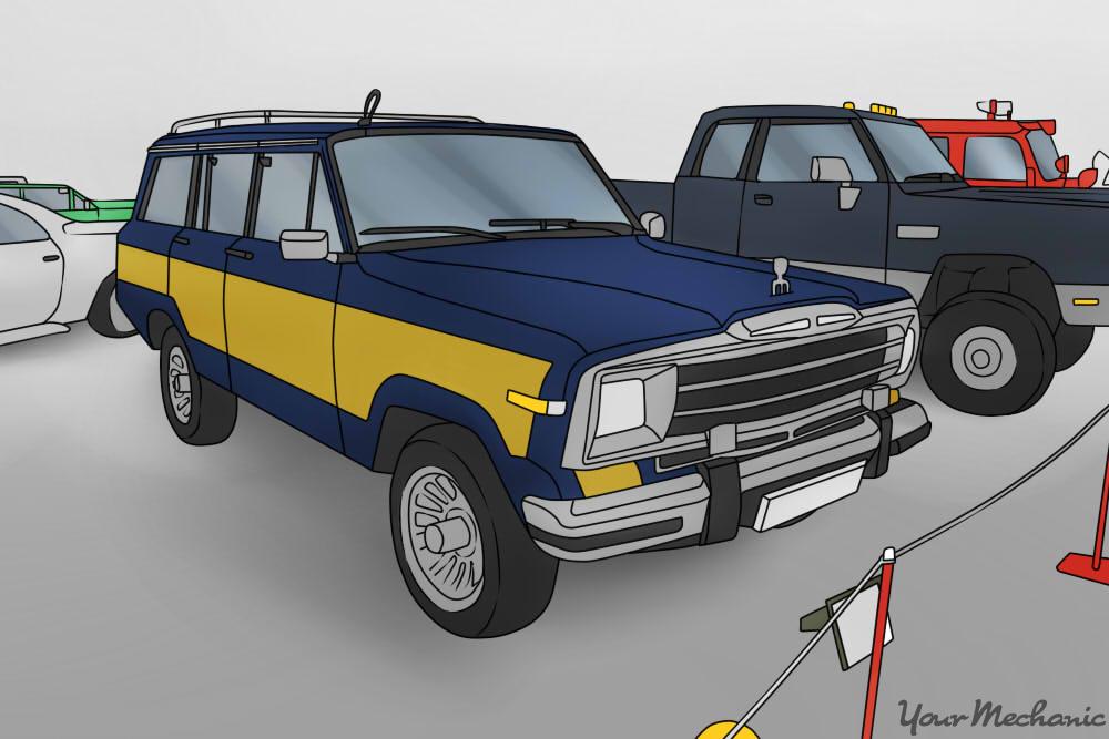 jeep grand wagooner at a car exp