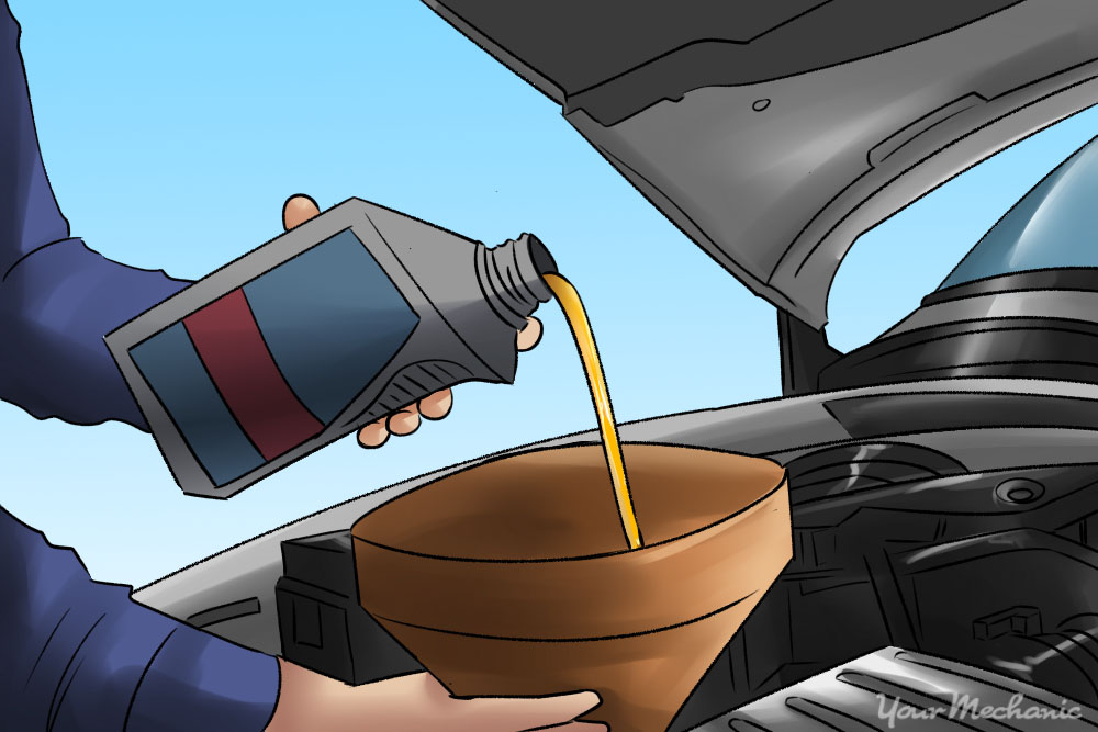 mechanic pouring oil into a car