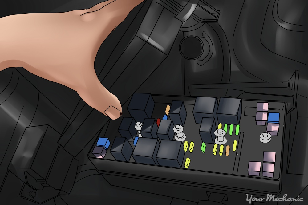 1 How to Check Fuses in Your Car picture of a fuse box inside an engine bay with the lid being held open by a hand how to inspect car fuses yourmechanic advice Cartoon Spine Nerves at bayanpartner.co