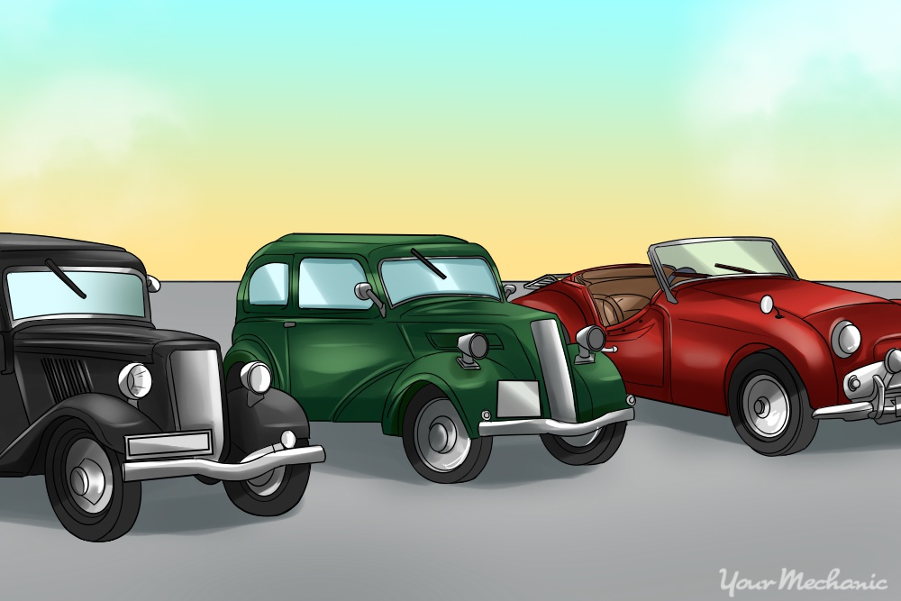 illustrations of classic cars lined up