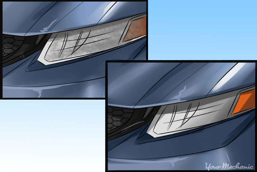 dirty and clean headlight comparison