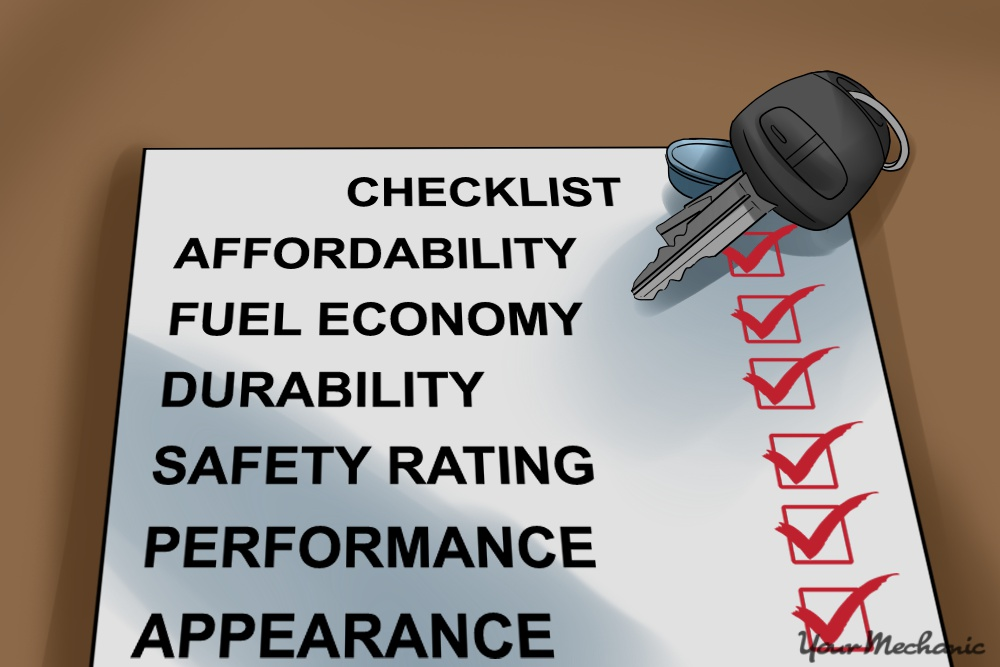 car checklist with keys ontop