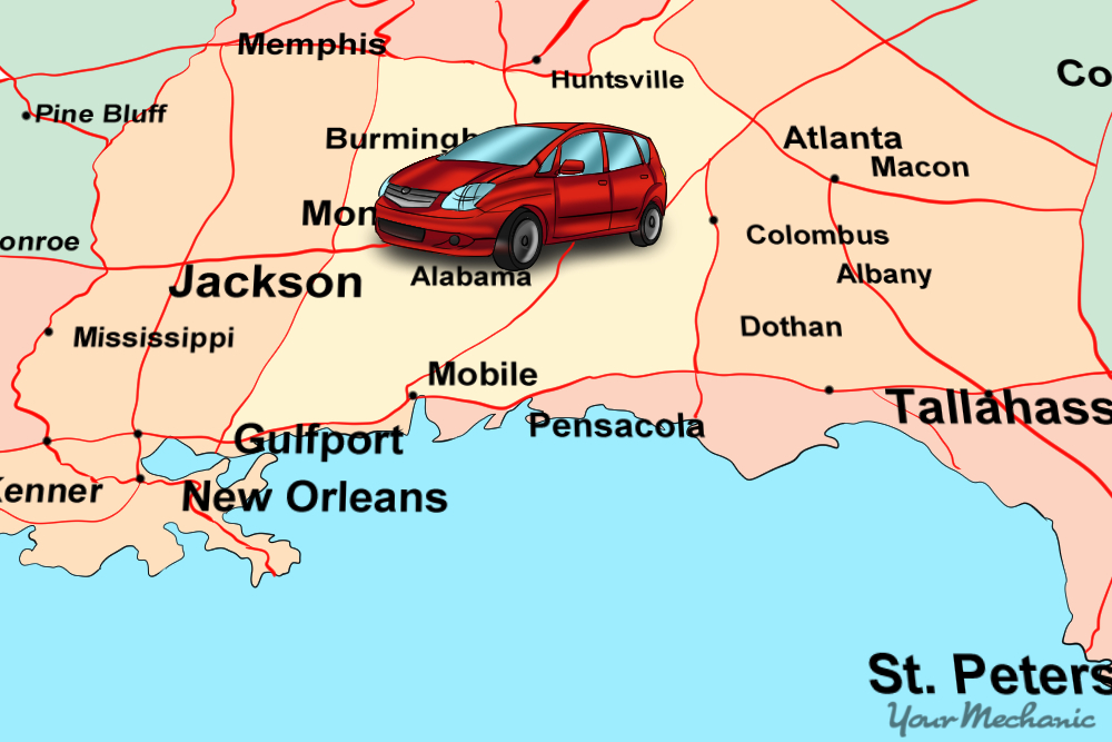 car sitting on top of midwestern and southeast regions