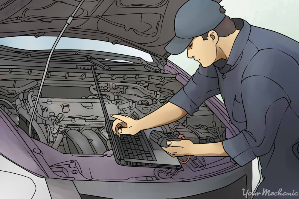 man in blue coveralls and hat using computer at the front of a car, hood is open