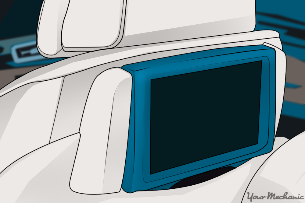 blue flatscreen installed into headrest of vehicle