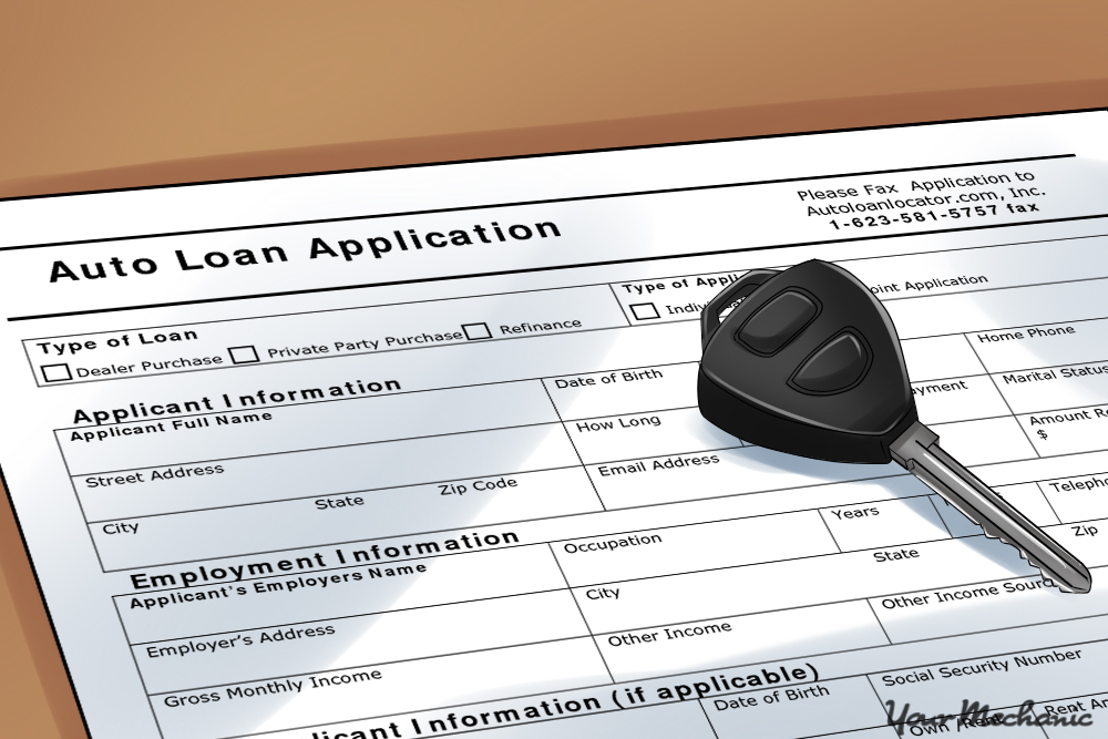 car loan application with key on it
