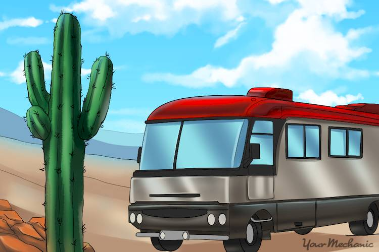 RV in desert with a cactus nearby