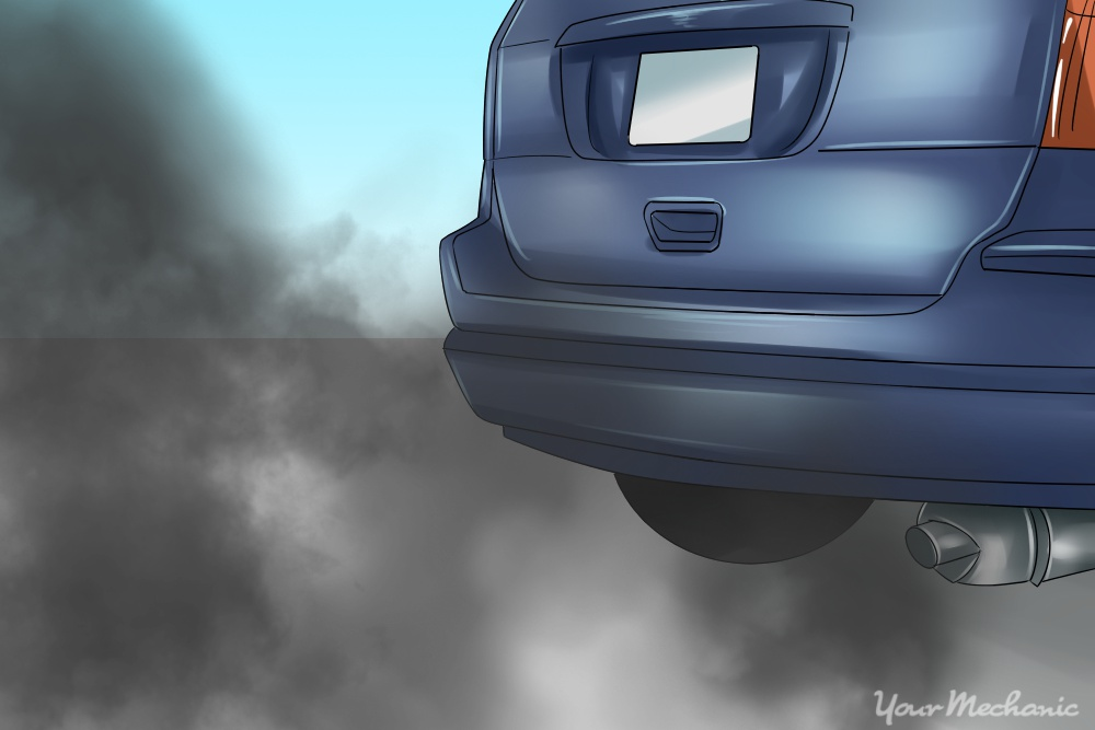 car with black smoke coming out of exhaust