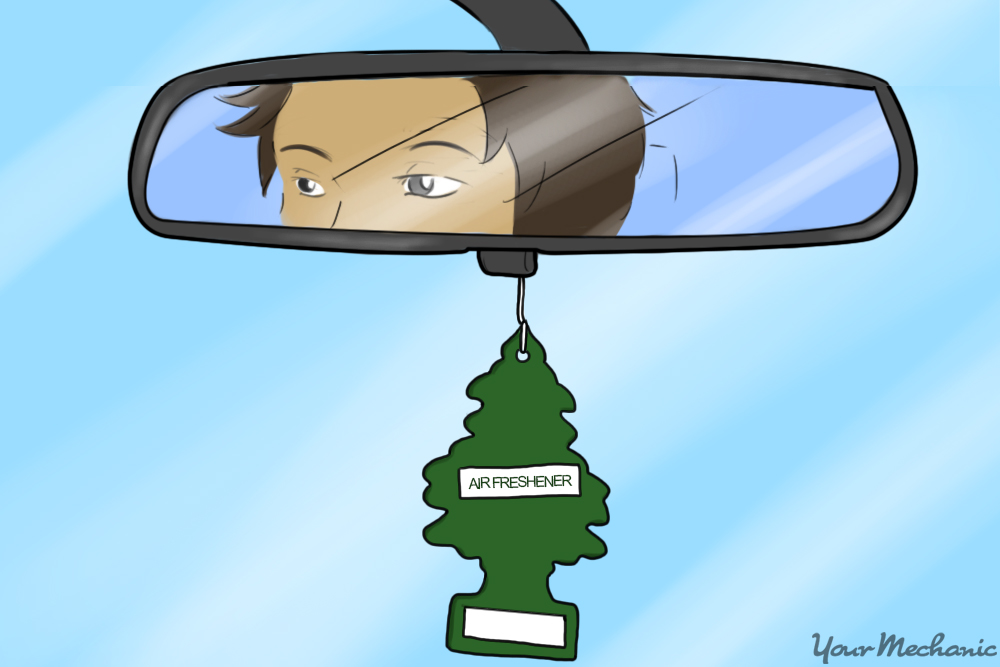 air freshener hanging from rearview mirror