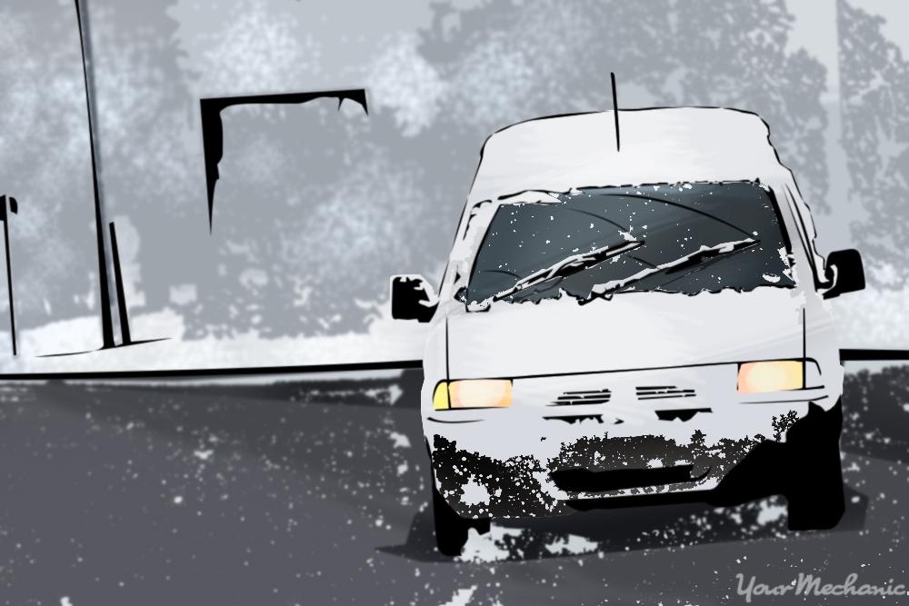 van driving on snowy road