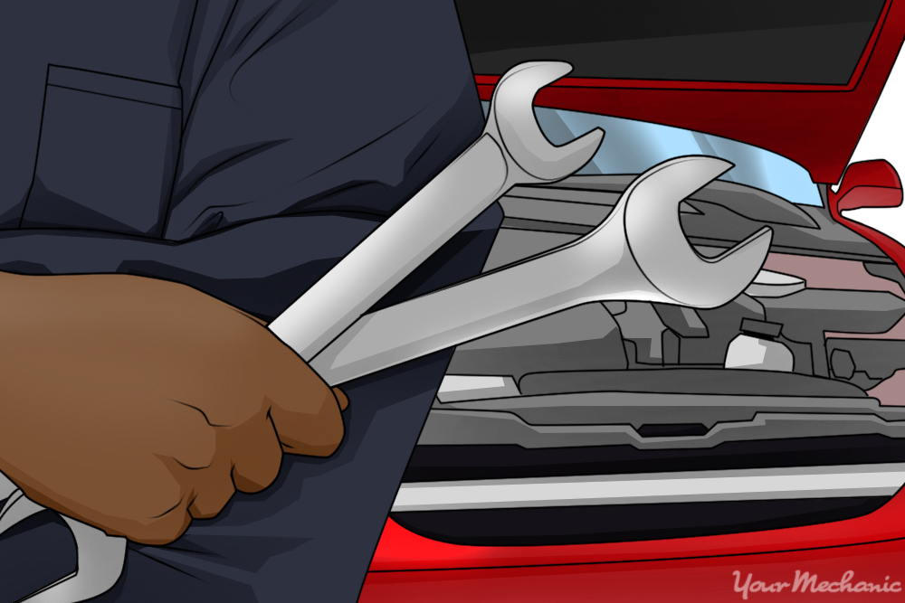 hand holding wrenches