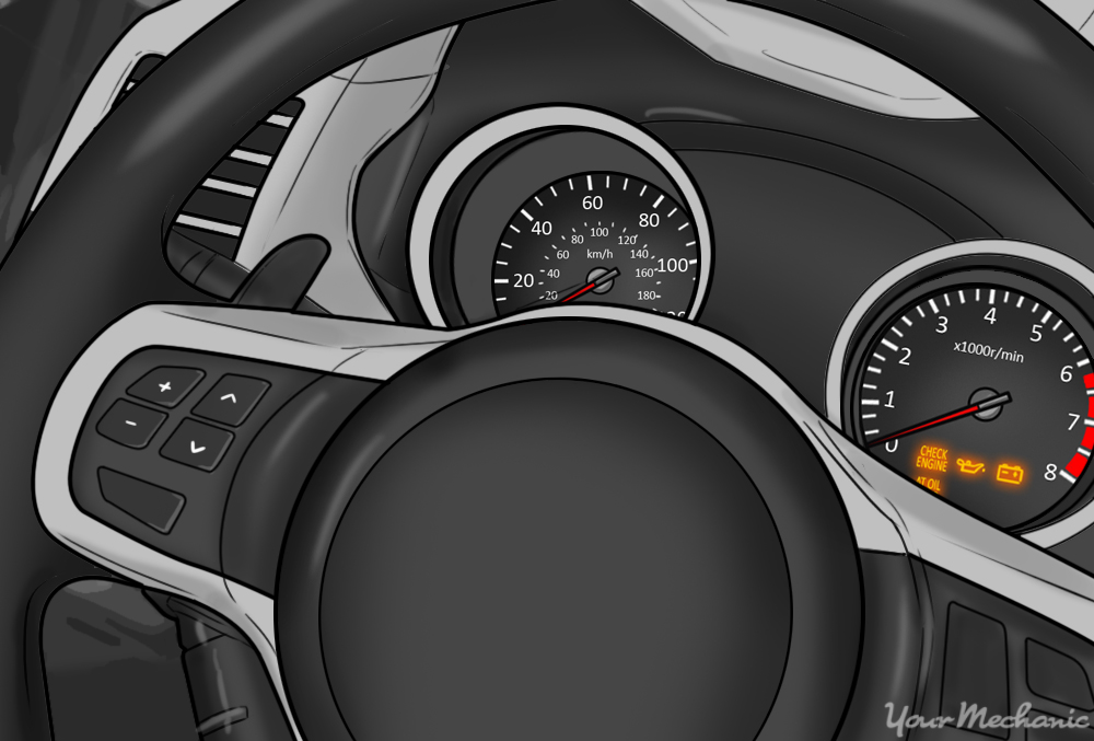 Car steering wheel with cruise control switches on it and an instrument panel in the background