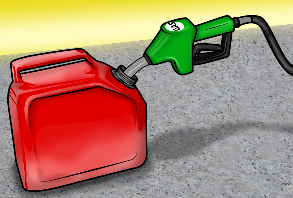 red jerry can and green gas pump