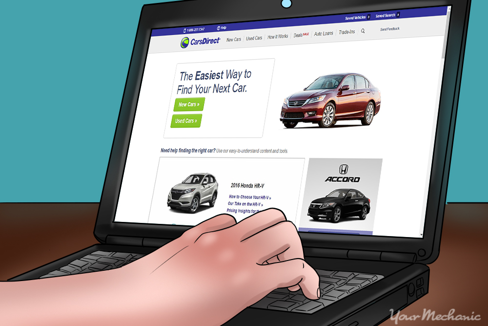 car shopping on laptop
