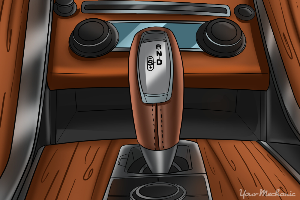 gearshift lever in luxury vehicle