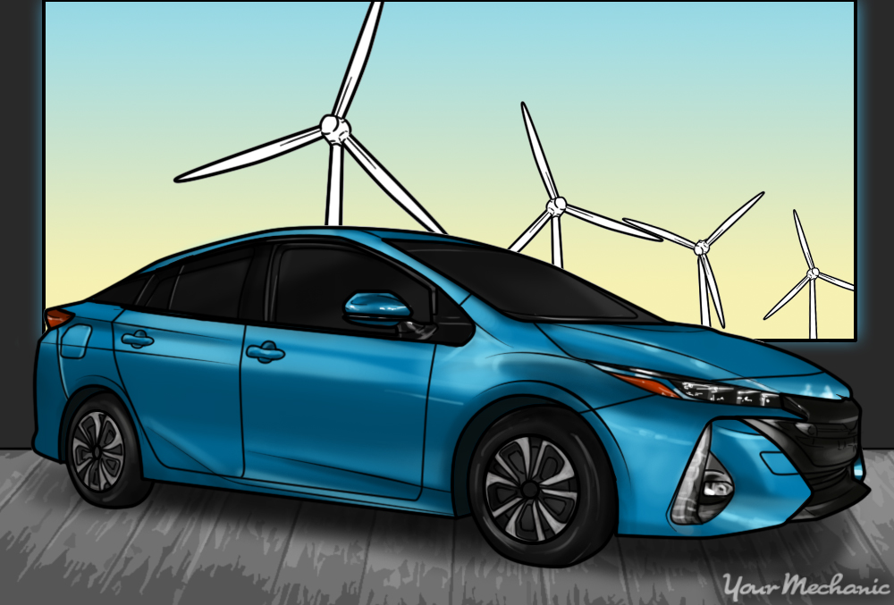 blue prius windmill background