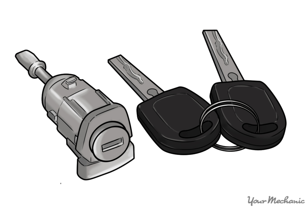car door lock cylinder next to some car keys