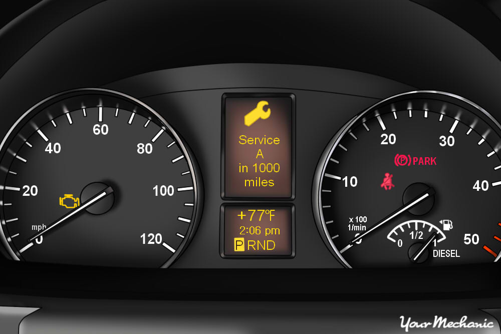 Understanding Mercedes-Benz Active Service System - view of Mercedes-Benz instrument panel, with wrench service light on