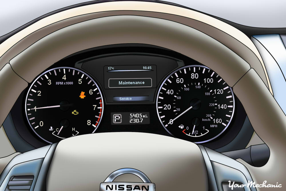 Understanding Nissan Service Indicator Lights - steering wheel and instrument display of a Nissan, showing service lights on