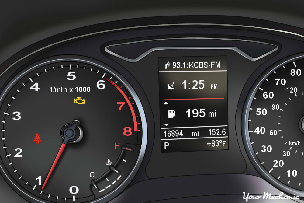 Understanding Ram Service Indicator Lights - view of a Ram's instrument panel with check engine light on