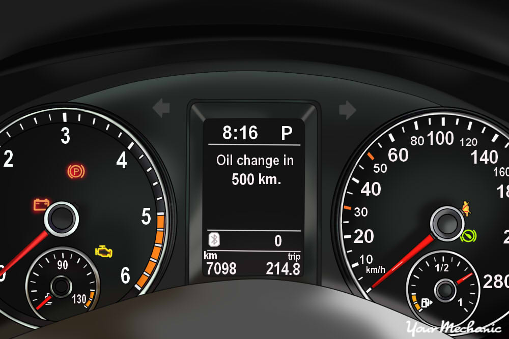 Understanding Volkswagen Service Indicator Lights -  instrument panel of a Volkswagen with oil change indicator