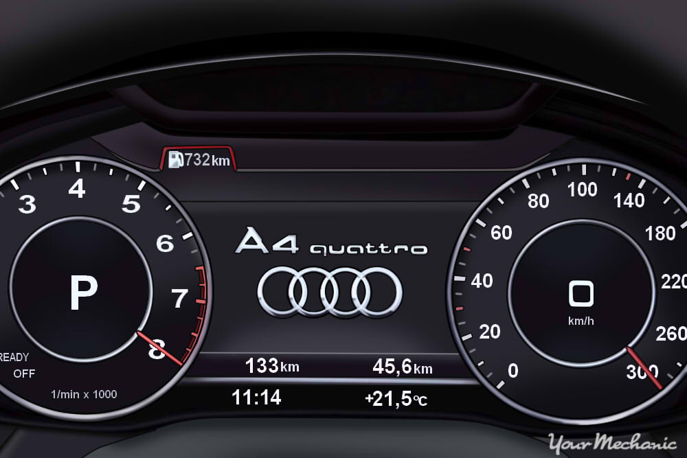 Understanding Audi Service Indicator Lights - Instrument panel of an Audi
