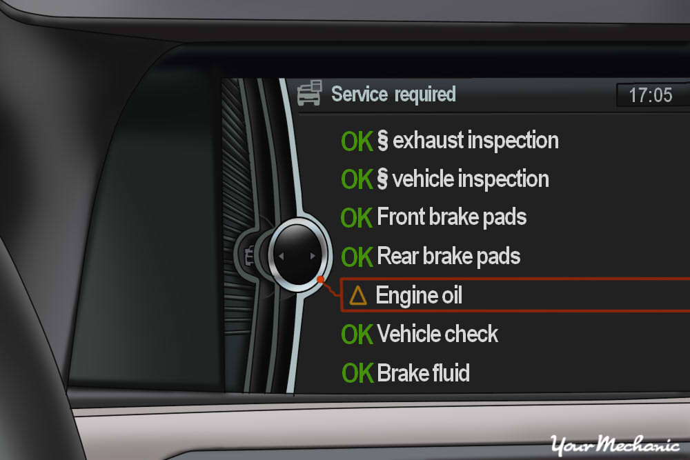 Understanding BMW Service Indicator Lights - monitor display in a BMW with Engine oil notification on