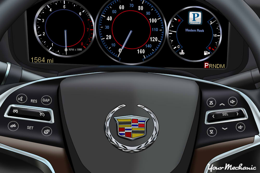 Understanding Cadillac Service Indicator Lights - showing instrument display and steering wheel controls of a Cadillac