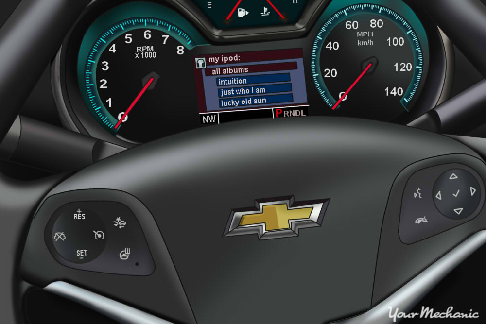 Understanding Chevrolet Service Indicator Lights - showing instrument display and steering wheel controls of a Chevrolet