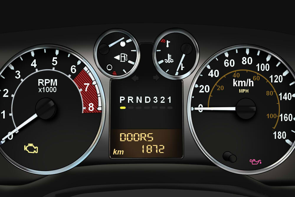 Understanding Hummer Service Indicator Lights - view of Hummer H3 instrument panel with warning/change oil soon light on