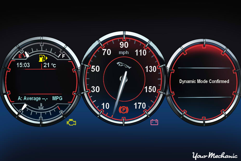 Understanding Jaguar Service Indicator Lights - view of a Jaguar instrument panel with warning light on