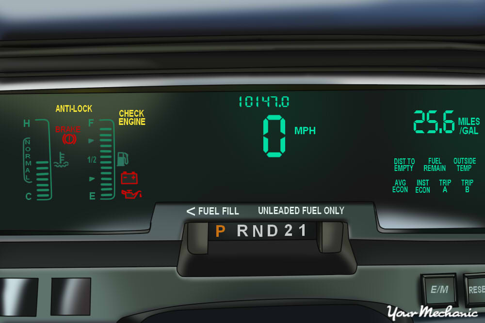 Understanding Mercury Service Indicator Lights - view of a Mercury instrument panel with warning light on