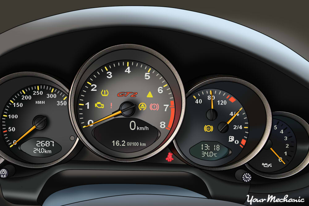 Understanding Porsche Service Indicator Lights - view of Porsche instrument panel with warning light on