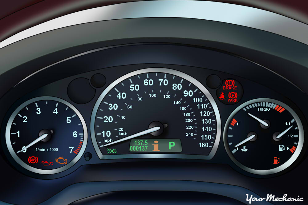 Understanding Saab Service Indicator Lights - view of Saab instrument panel with warning light on