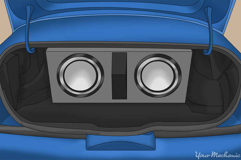 speaker box inside of trunk