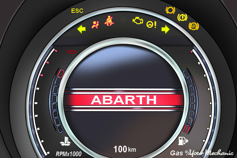 Understanding Fiat Service Indicator Lights -  view of Fiat instrument panel with service light on