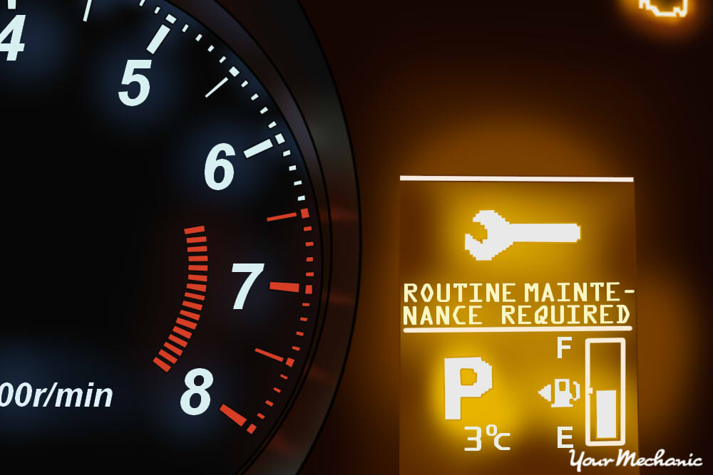 Understanding Mitsubishi Service Indicator Lights - showing Mitsubishi instrument display with Routine Maintenance Required and Check Engine Light illuminated