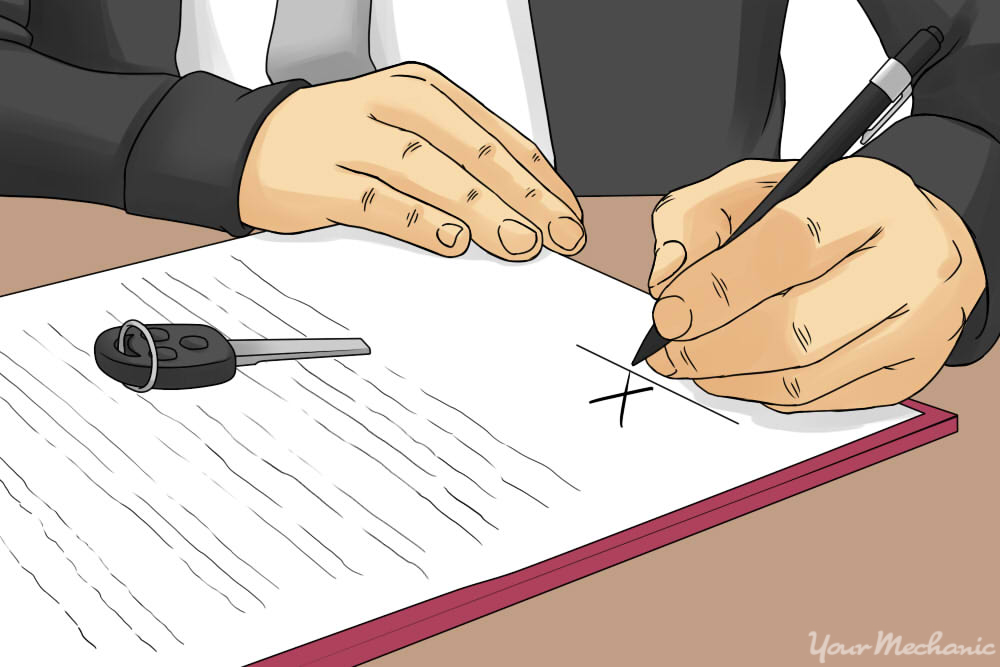 person signing paper work for vehicle