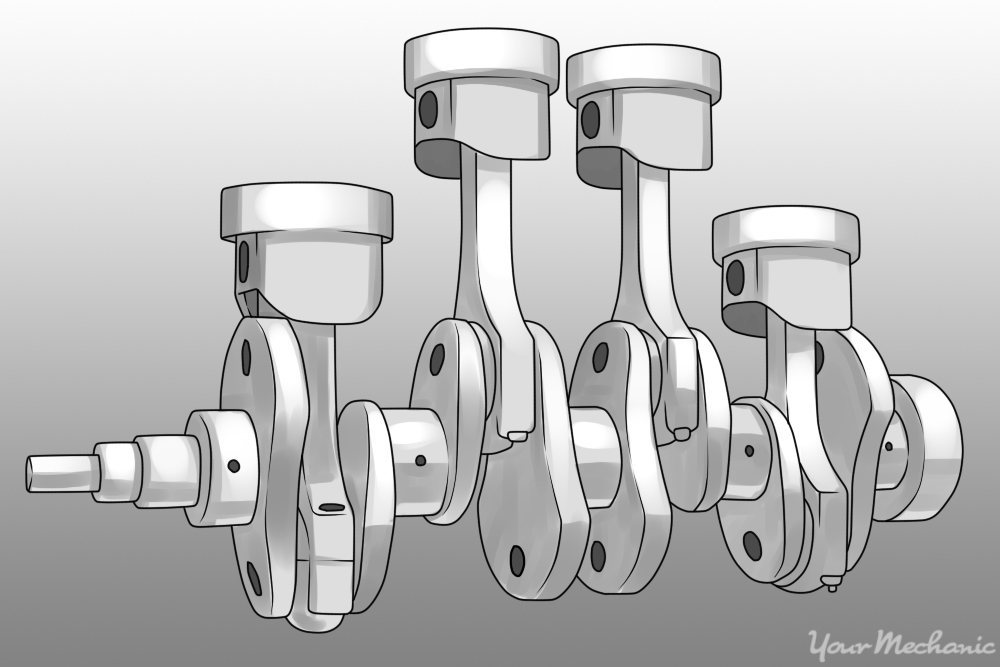 crankshaft and engine pistons