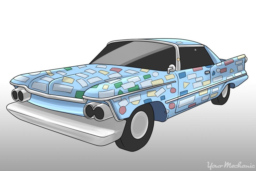 car covered in bumper stickers
