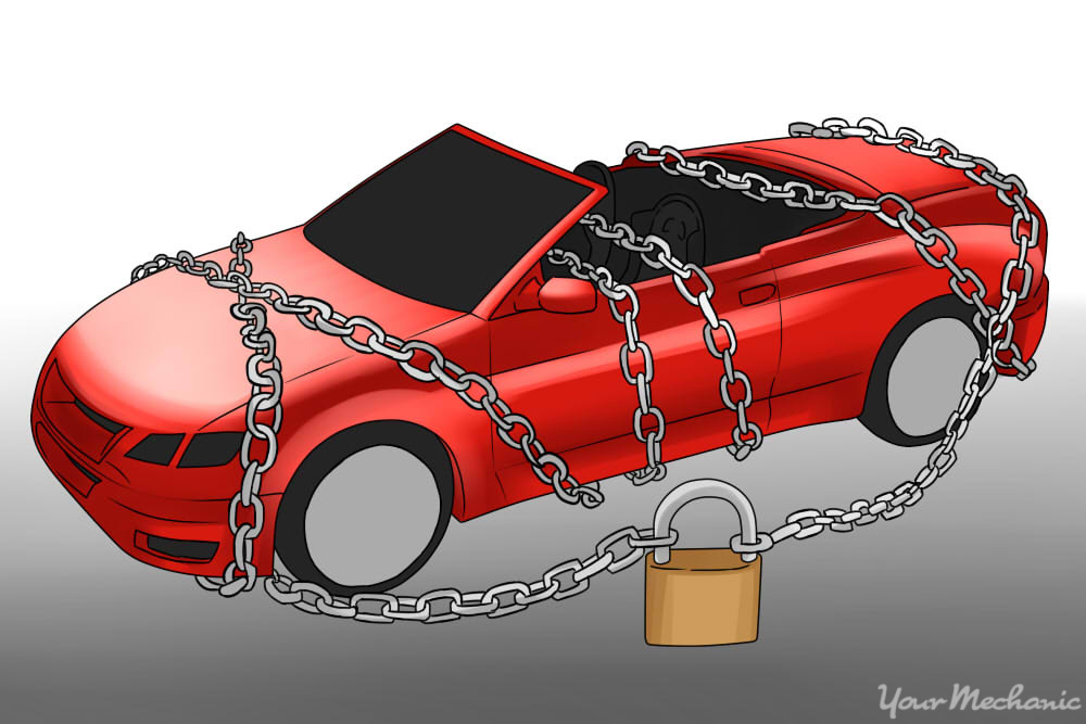 red convertible that is locked by chains