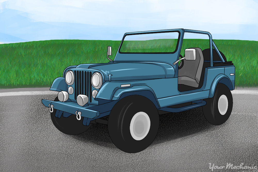 classic jeep with the top down
