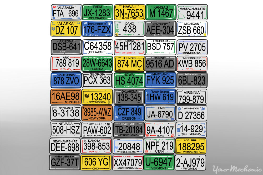 bunch of different car plates