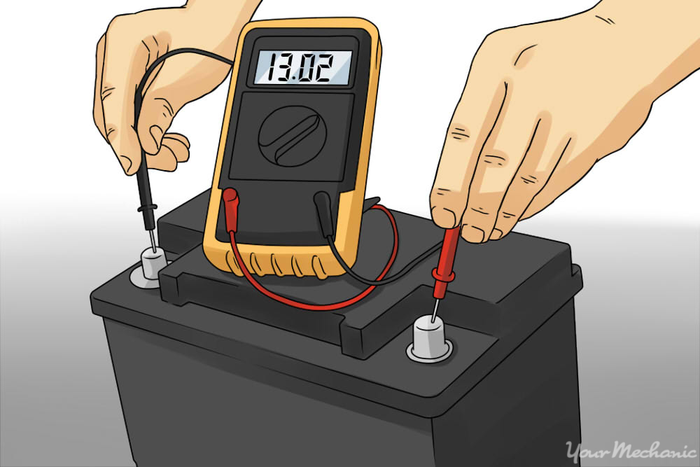 hands checking car battery