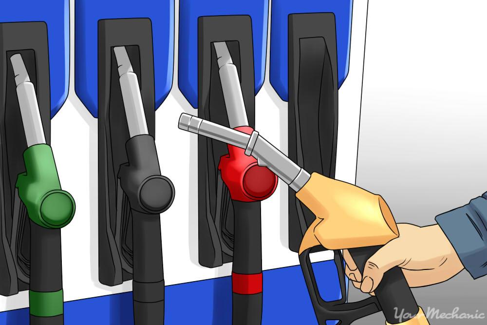 hand grabbing fuel pump at gas station