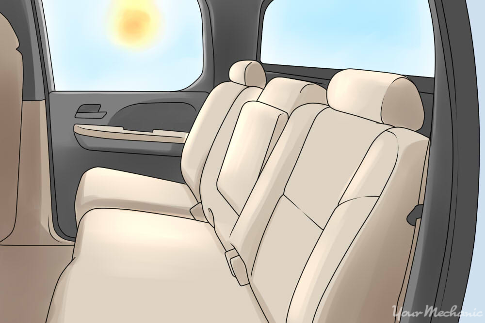 inside of car with sun glaring in